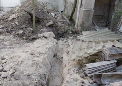 Remblai d'une fosse septique